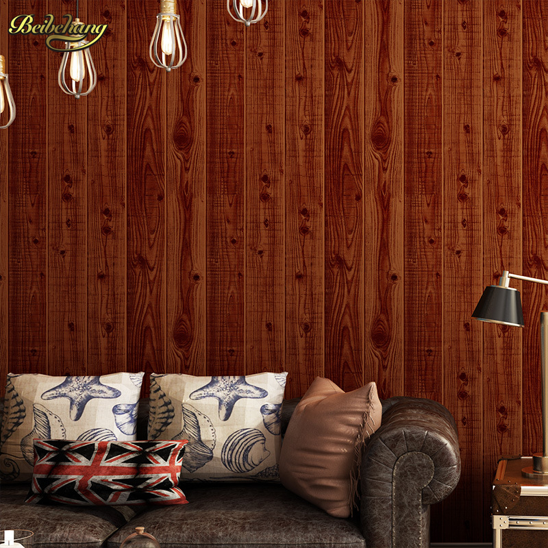 beibehang papel de parede 3D Chinese store Wooden wallpaper imitation wood wall paper roll board bedroom ceiling living room