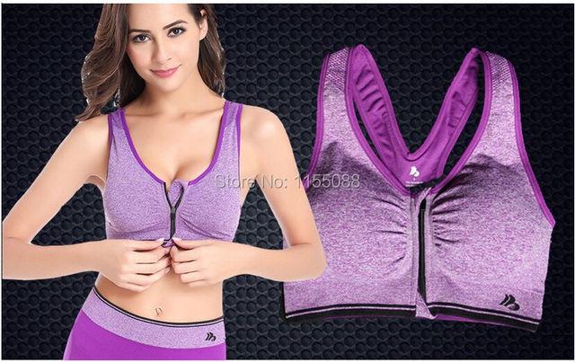 100pcs/lot Women Seamless Bra Push up Fitness Clothing ropa deportiva Top Front Zipper Padded Tank Top Bra