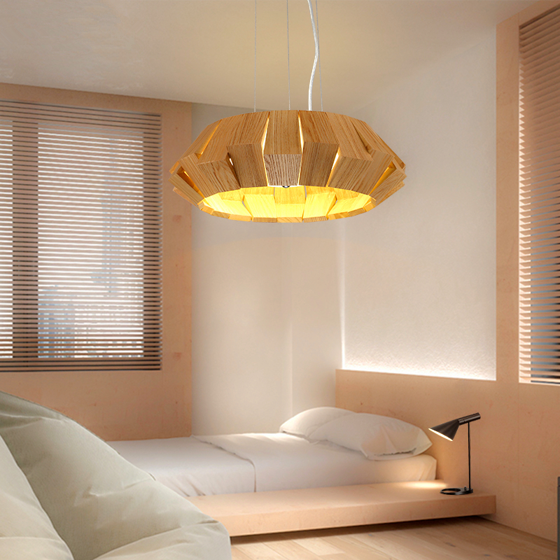 Nordic IKEA Creative Personality Hanging Lights Modern Simple Living Room Lamps Restaurant Bedroom Wooden Pendant