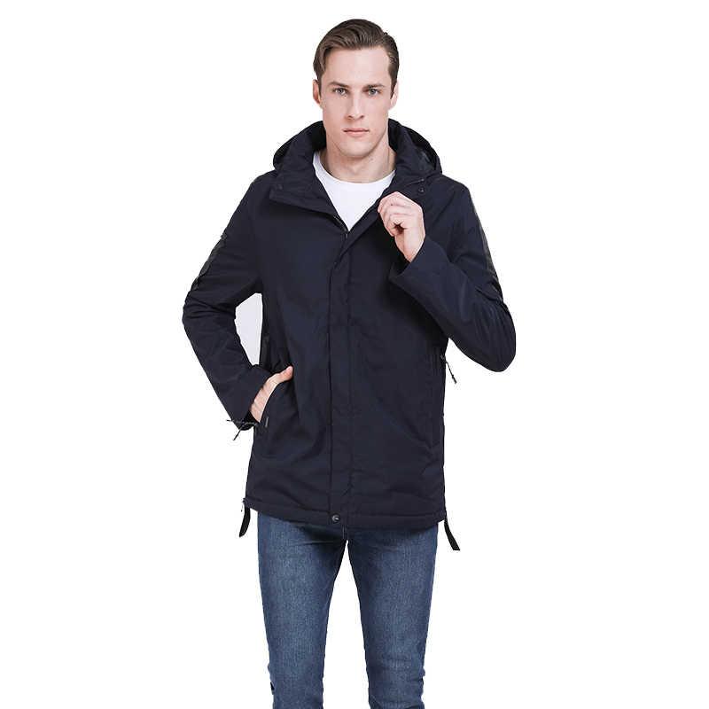 2019 新メンズジャケット春綿パッド入りのコート秋メンズカジュアルコートフード付き男性パーカー取り外し可能なフード生き抜くロシアスタイル