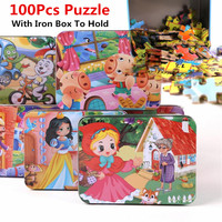 100Pcs Wooden Cartoon Animal Fairy Tale Puzzle Iron Box Hold Jigsaw Puzzles Children Early Education Eood