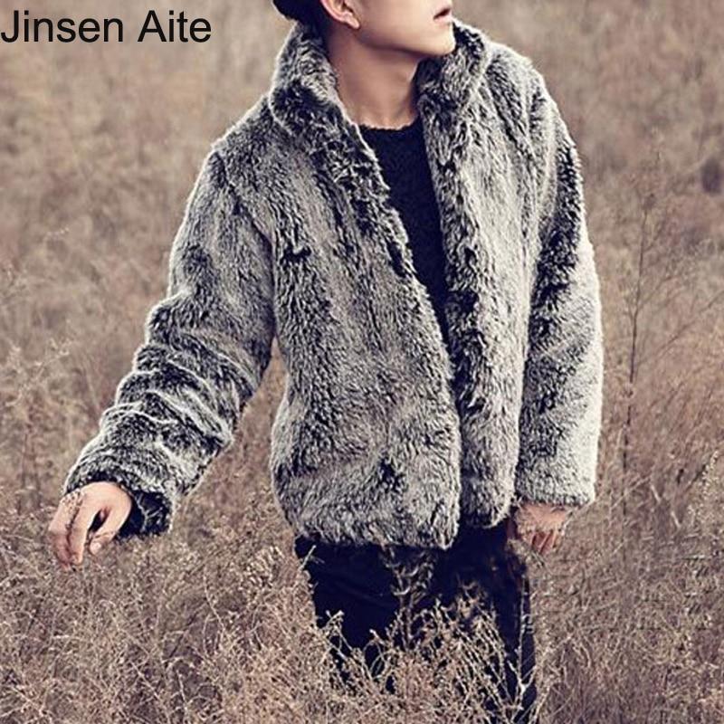 bf481e38b Aite jinsen جديد أزياء الشتاء سترة كوريا أسلوب السببية الصلبة اليوسفي الرجال  معطف طوق فو الثعلب الفراء الناعمة S-3XL زائد الحجم JS541