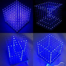 8x8x8 LED 큐브 3D 라이트 스퀘어 블루 LED 전자 DIY 키트