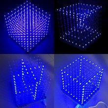 8x8x8 led cubo 3d luz quadrado azul led eletrônico diy kit