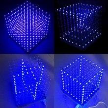 Cubo de luz LED cuadrado 3D, 8x8x8, azul, Kit DIY electrónico