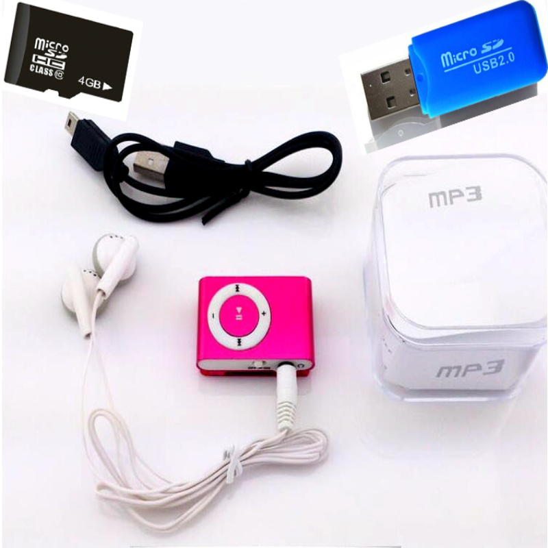 2GB Memory Card BOX Mp3 Player Mini Mp3 Mususic Player Micro TF Card Slot USB MP3 Sport Player USB Port With Earphone Headphone