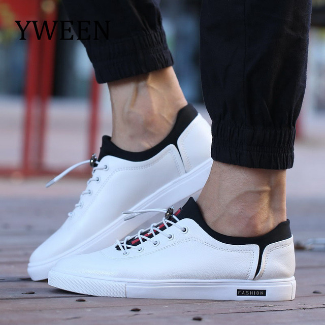 YWEEN 2019 Spring Men Casual Shoes Lace-Up Men Sneaker Shoes Simple Stylish Comfortable Soft PU leather Shoes For Men