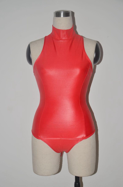 S-4XL, черный, красный, эротические купальники для косплея горничной, черный, красный, боди из искусственной кожи, сексуальное трико с высоким воротом и рукавами, Фетиш swinwe - Цвет: Красный