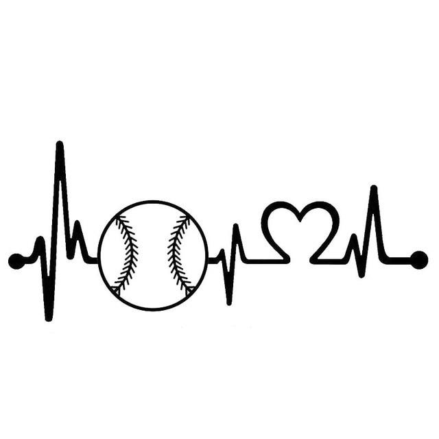 Car Stying Baseball Softball Heartbeat Lifeline Car