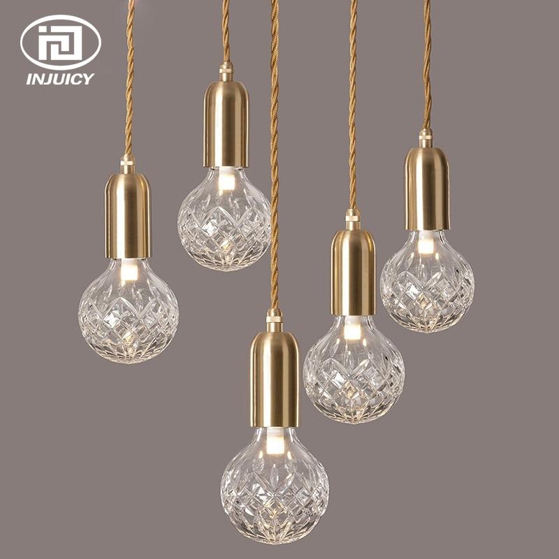 Luxury Crystal Glass Ball LED Pendant Light Loft Diamond Bubble Glass Foam Ceiling Lamp Restaurant Bedroom Cafe Decorations