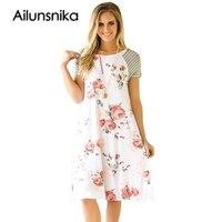 Ailunsinika T Shirt Dresses Women Summer 2017 Casual Tunic White Backdrop Floral Print A Line Loose