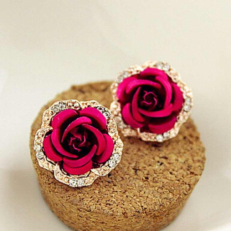 Ethnic Classic Rose Flower Earring Fashion Brand Rhinestone Party Jewelry Vintage Gold Color Crystal Stud Earrings For Women