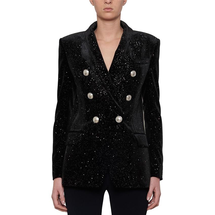 HIGH QUALITY New Fashion 2019 Fall Winter Designer Blazer Women's Lion Buttons Sheer Star Silver Glitter Velvet Blazer Coat