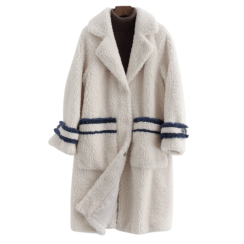 Real Fur Coat Streetwear 100% Wool Jacket Autumn Winter Coat Women Clothes 2019 Korean Vintage Sheep Shealring Abrigo Mujer 3342