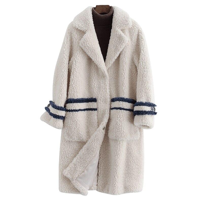 Real Fur Coat Streetwear 100% Wool Jacket Autumn Winter Coat Women Clothes 2019 Korean Vintage Sheep Shealring Abrigo Mujer 3342