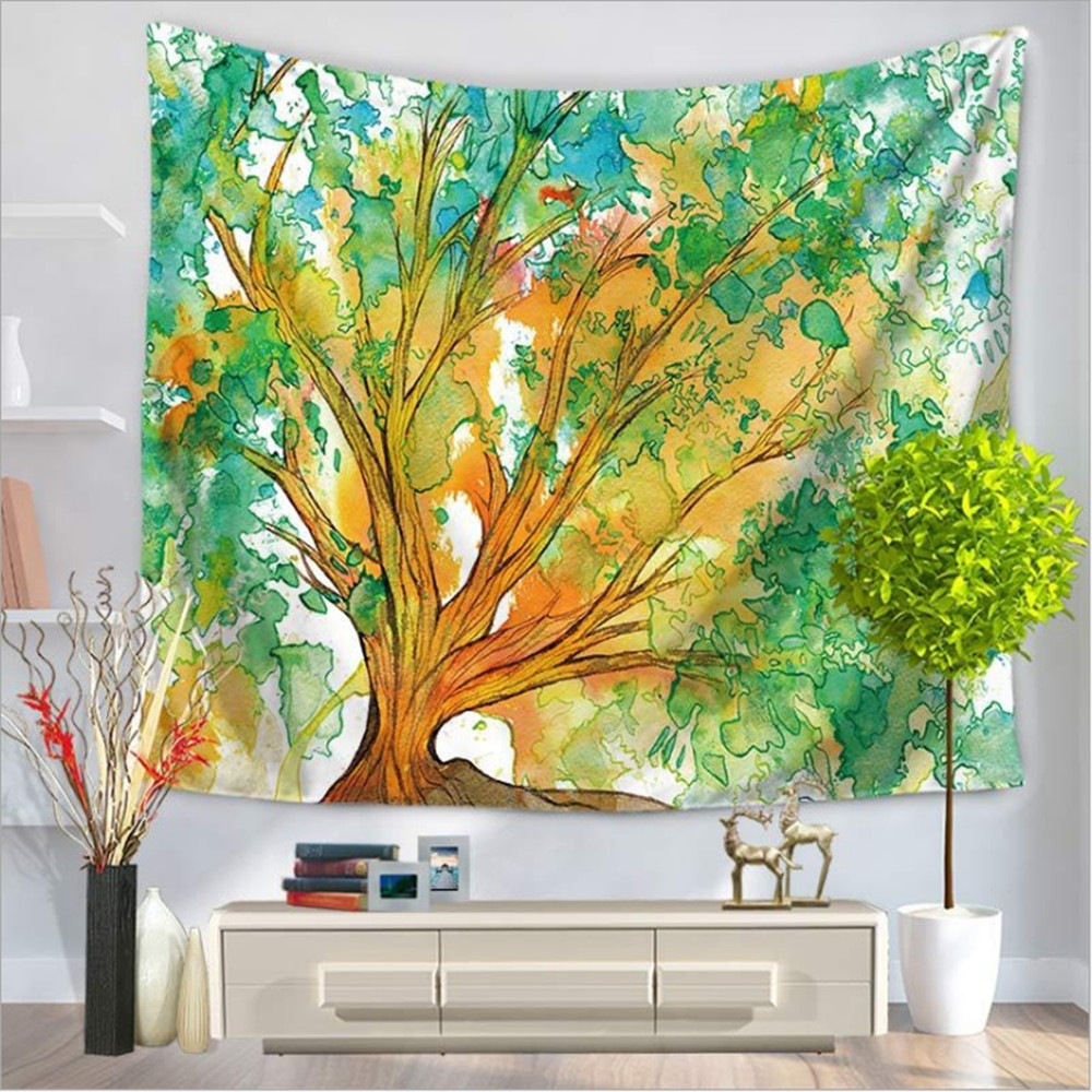 Colorful Fabric Painted Tree Tapestry Home Decor Wall Hanging Throw ...