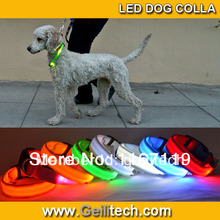 цена на Super Value Pricing High Quality Freeshipping Nylon  LED Dog  Collar With 3 Flashing Mode 8colour