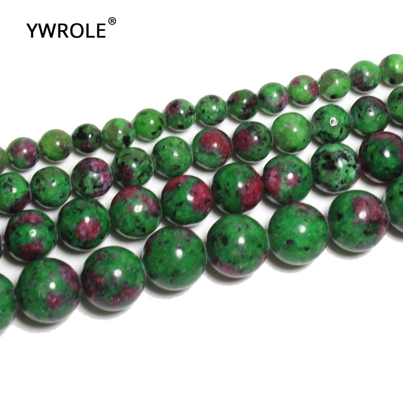 Jewelry & Accessories Epidote Zoisite With Rubye Dye Color Stone Beads For Jewelry Making Diy Bracelet 6/8/10/ 12 Mm Strand 16 Durable Modeling Candid Wholesale Top Aaa