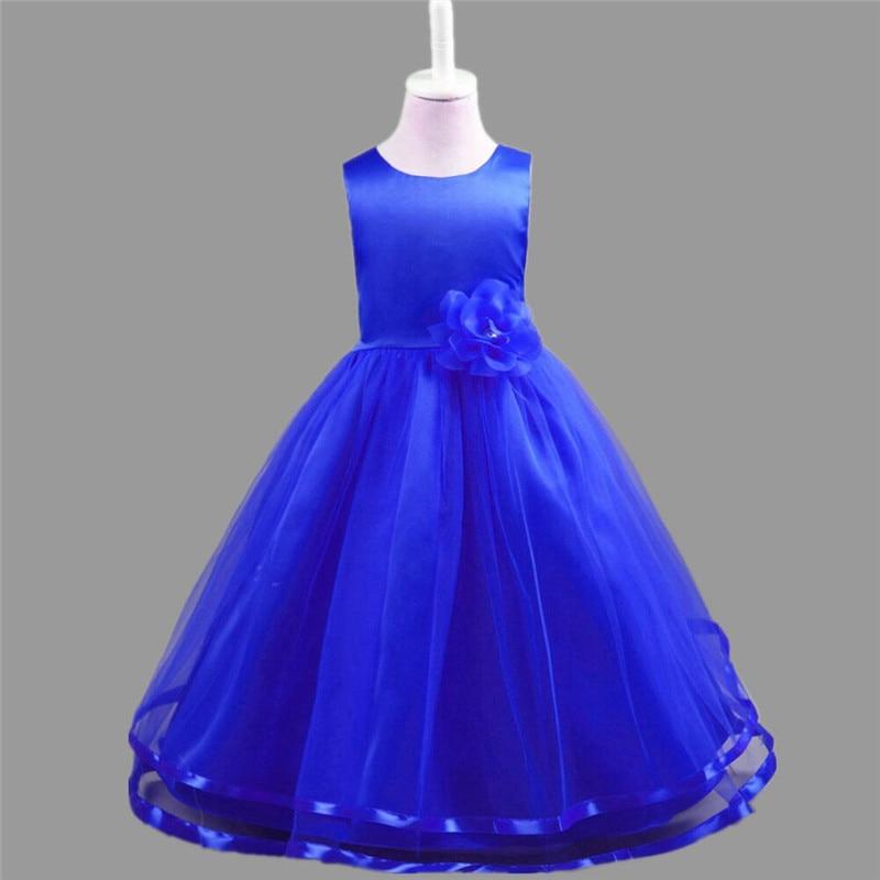 Sommer ærmeløs pige tøj Kid Mesh Blomsterkjoler til bryllupsfest - Børnetøj