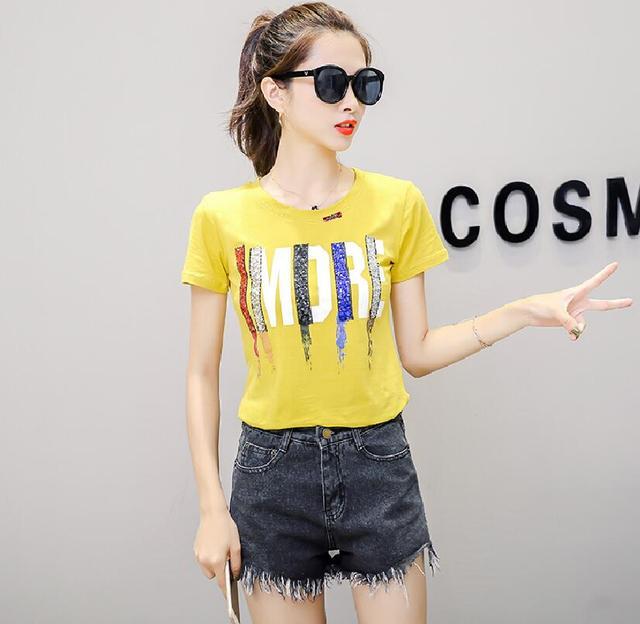 Female Summer Print Poleras Mujer Tops Tee Women 2019 New Colorful Sequins T -shirt Women Casual Short Sleeve Ladies Tshirt F0158 6071dafd5f0d