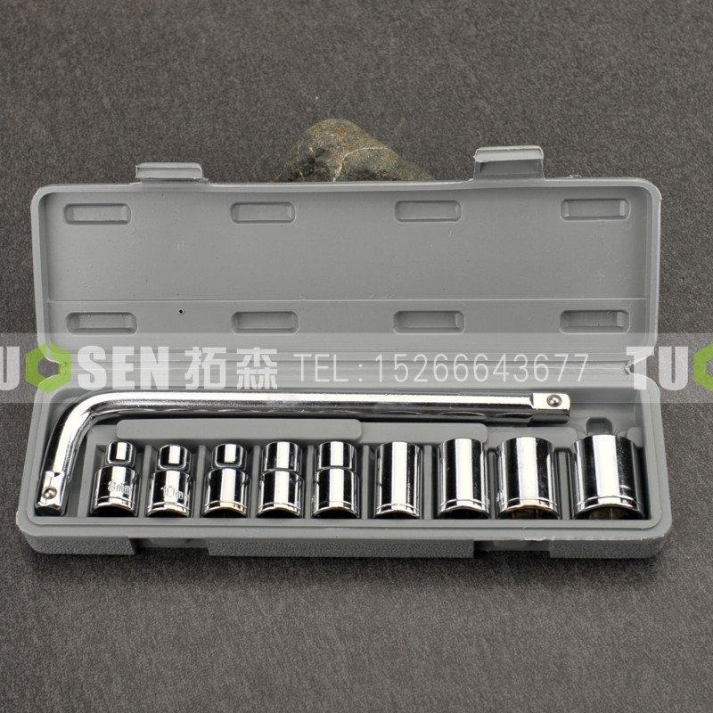 10 Sets Of Sleeve Car Repair Tool Socket Wrench Hardware Tool Combination Set  factory direct and dual purpose wrench 14 sets of 8 24mm hardware tools