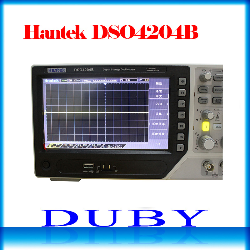 Hantek DSO4204B USB Digital Storage Oscilloscope 4 analog Channels 200MHz bandwidth 1GSa/s Record Length 64K USB AC110-220V hantek dso5072p digital storage oscilloscope 70mhz 2 channels 1gsa s record length 40k usb 2ch