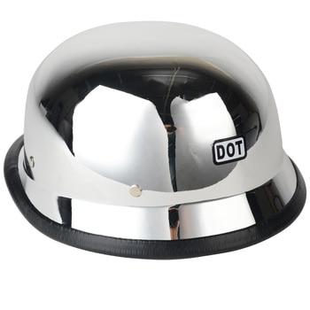 Chrom Motorradhelm | MAYITR Hohe Qualität Motorrad DOT Helm Deutsch Militär Stil Chrome Halb Helm Für Harley Größe M L XL