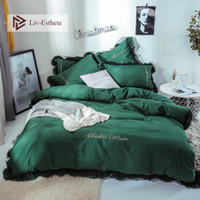 Liv-Esthete Luxury Beauty Dark Green Bedding Set For Girl Gift Lace Duvet Cover Flat Sheet Bed Double Queen King Linen