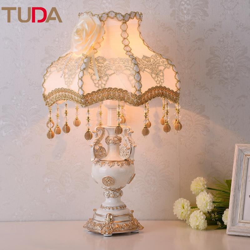 TUDA LED שולחן מנורת אירופאי בד שולחן מנורת חדר שינה ליד מיטת סלון מחקר רטרו שרף שולחן מנורת E27 110 V 220 V-במנורות שולחן LED מתוך פנסים ותאורה באתר TUDA Official Store