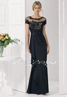 New Arrive Elegant O neck Applique On a Bodice and Ruffle Chiffon Elegant Evening Dresses