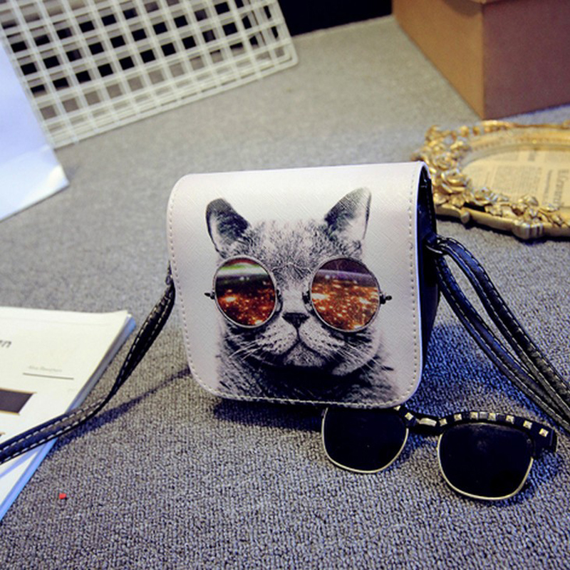 Trägt Drucken 200pcs leder Mujer Pu Umhängetasche Katze Marca Frauen Gläser Handtaschen lot Carteras Große Mode vqWgnwqR0
