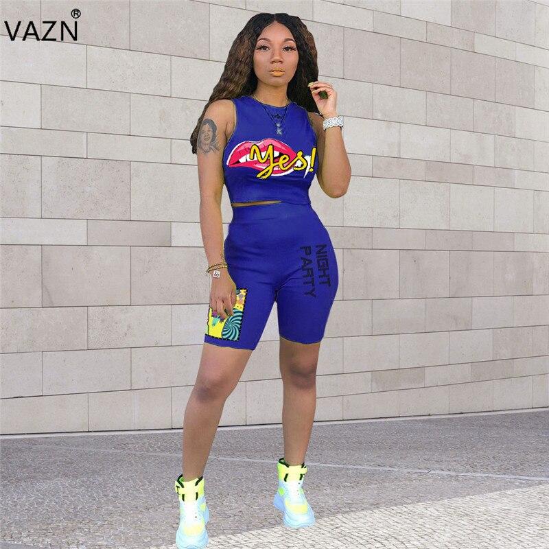 VAZN 2019 Summer High Street Young Casual Fashion Short Sleeve Top Short Pants Elastic Tracksuits 2 Piece Women Set PN6209