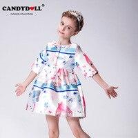 CANDYDOLL 2018 Nouveau Style Européen Et Américain Filles Princesse Robe Impression de Dessin Animé Conception De Mode Fille Vêtements Enfants Vêtements