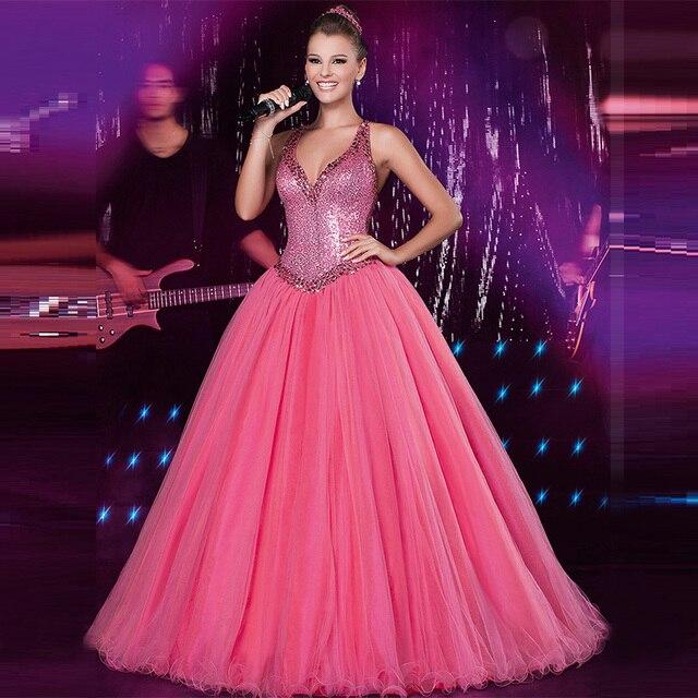 2015 Sexy Hot Pink Glitter Cuentas Vestido de Noche Formal de Baile ...