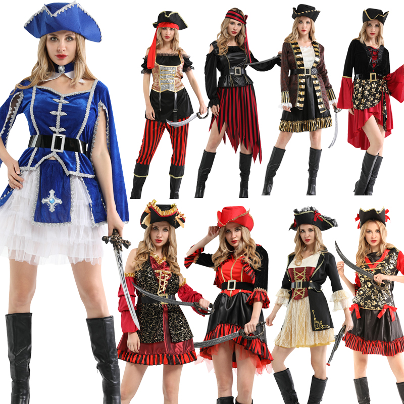 Free Shipping Holiday Halloween Party Pirate Cosplay Costume Caribbean Pirates  With Hat Headwear Adult Women's Party Supplies