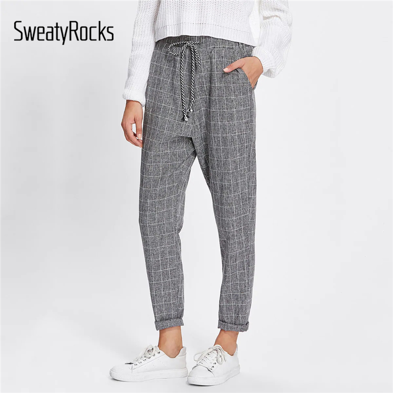 SweatyRocks Rolled Edge Drawstring Waist Plaid Pants Casual Tapered Loose Trousers 2019 Spring Streetwear Women Grey Pants