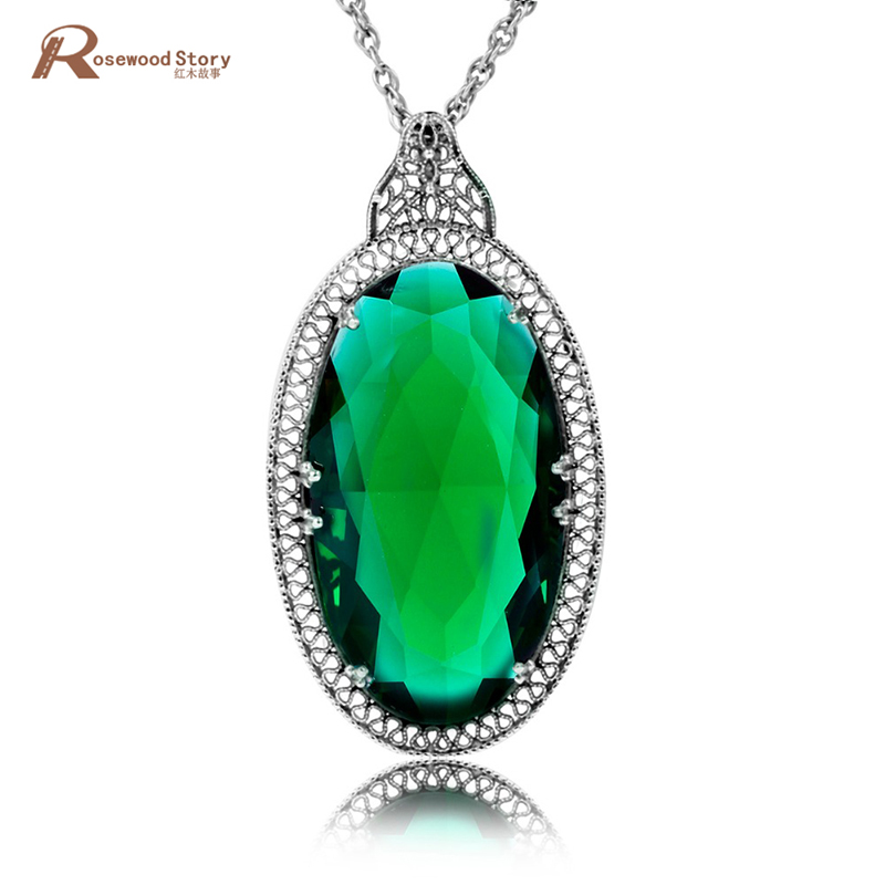 Angel Egg Shape Emerald Stone Crystal Pendant 925 Sterling-Silver-Jewelry Vintage Necklace Pendants For Friends Womens Jewellery