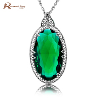 Angel Egg Shape Emerald Stone Crystal Pendant 925 Sterling Silver Jewelry Vintage Necklace Pendants for Friends Womens Jewellery