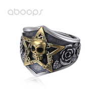 Two Tone 925 Sterling Silver Star Ring Skull & Rose Flower for Men Women Adjustable 7.5 10 Free Shipping