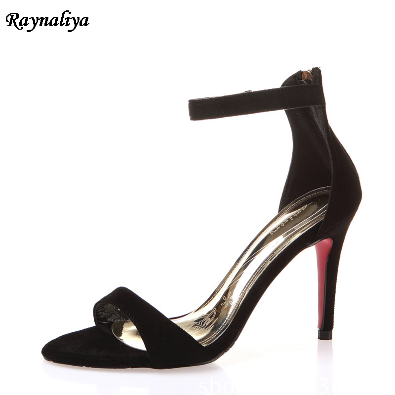 New Arrival Designer Shoes Woman Sexy Open Toe Sandals Women Thin High Heels Mules Party Genuine Leather Shoes XZL-A0063 new arrival black brown leather summer ankle strappy women sandals t strap high thin heels sexy party platfrom shoes woman