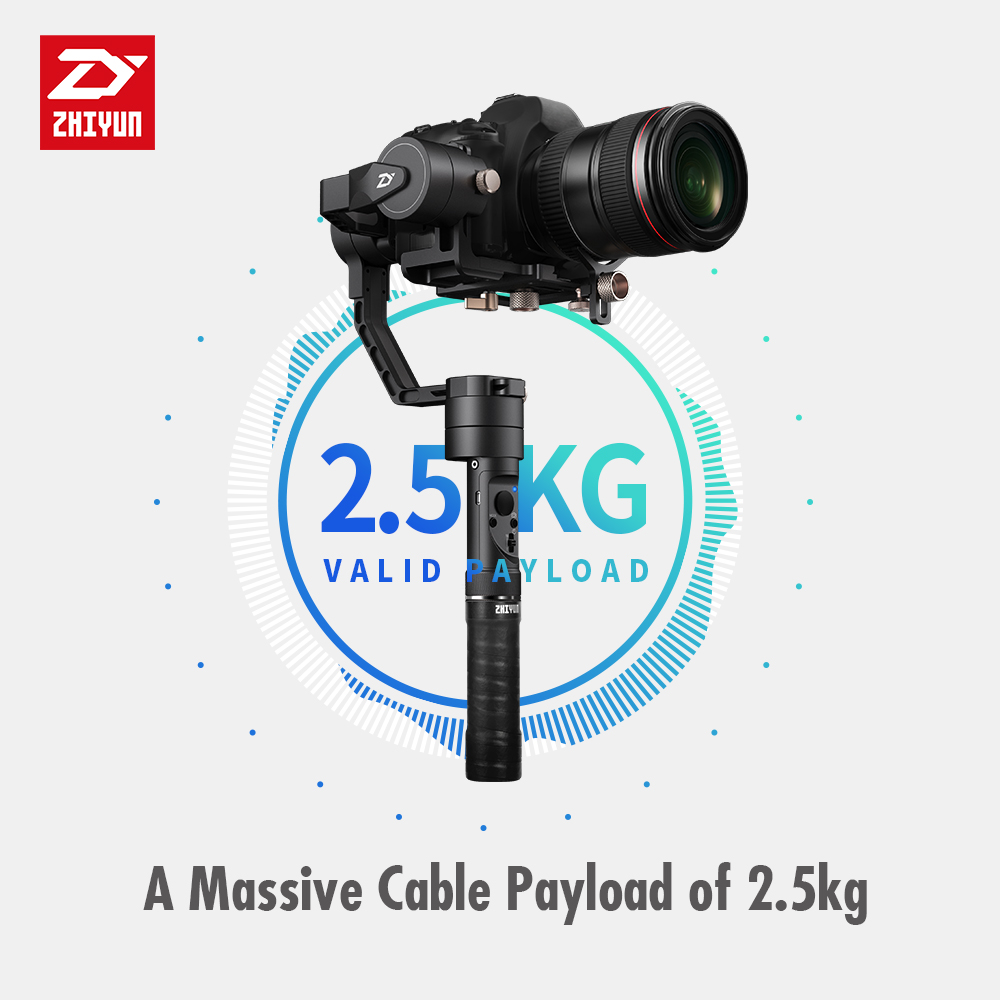 Zhiyun grue plus 3-Axes De Poche Cardan Stabilisateur pour Mirrorless DSLR Caméra Soutien 2.5 kg POV Mode dji osmo mobile 2