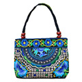 Винтажная женская сумка  в этническом стиле  холщовые сумки с вышивкой и деревянными бусинами  на двойной молнии  сумка на плечо для путешес...