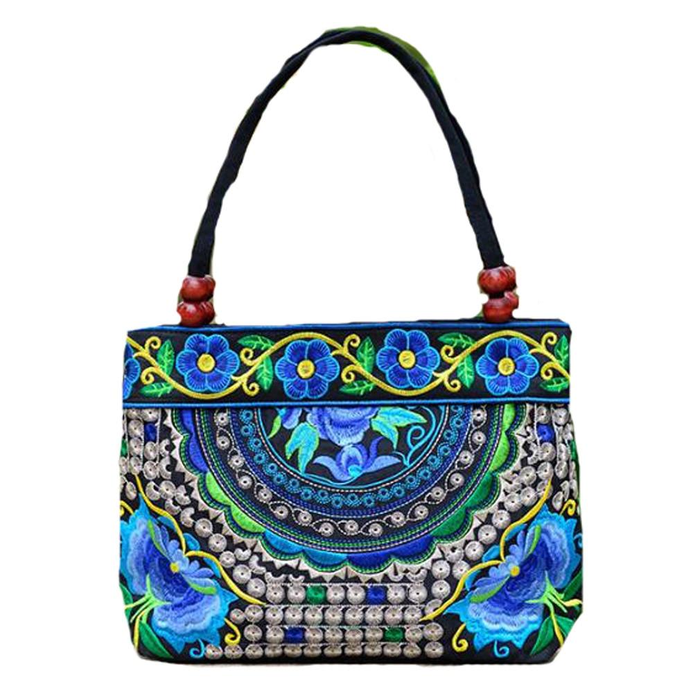 Vintage Women Handbag National Ethnic Canvas Embroidery Totes Wood Beads Double Zipper Travel Shoulder Bag Sac Femme Bolsos