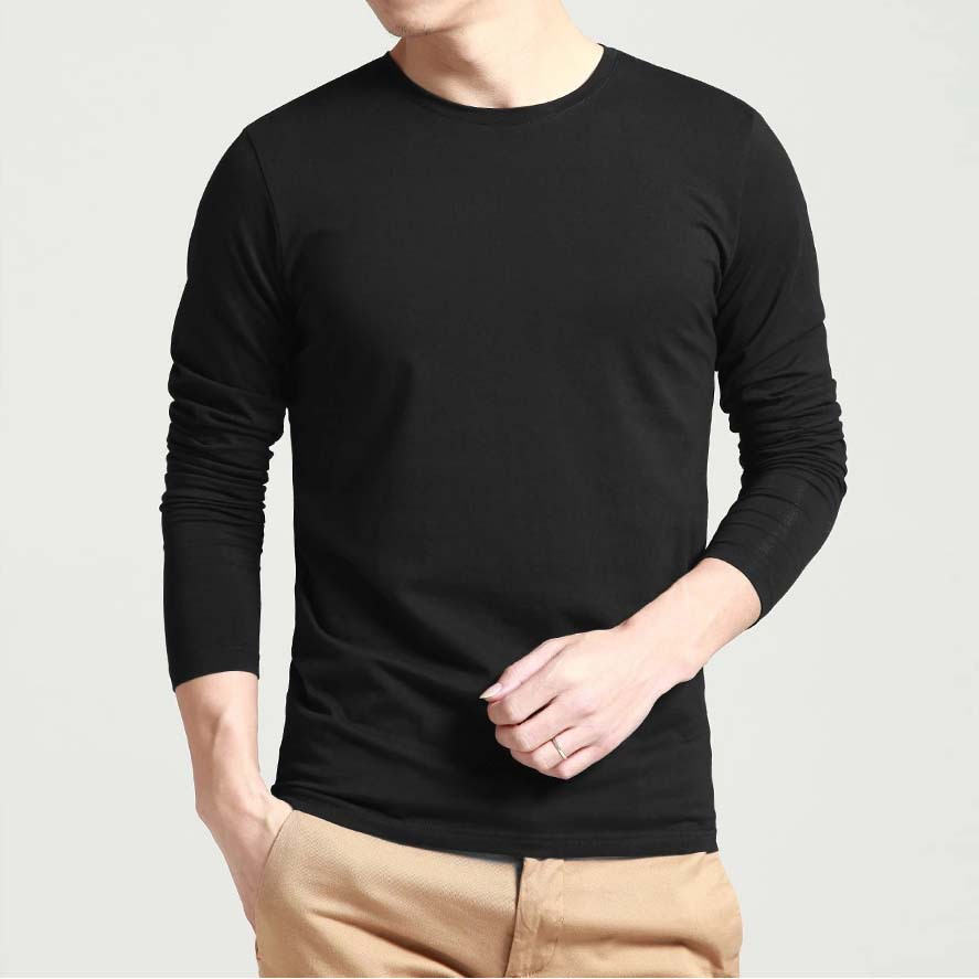 Stylish Blank Mens Popular Top T Shirts Long Sleeve O Neck