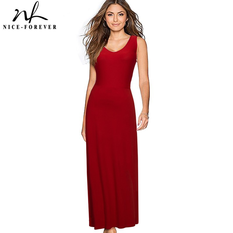 Nice-forever Solid Long Backless dress Sexy V-Neck Women Sleeveless beach Summer Holiday Bohemian Slim Maxi Casual Dress 317