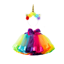 Baby Girl Super Soft Rainbow Tutu Skirt Handmade Unicorn Flower Headband Girls T