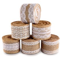 METABLE 20 Yards Natural Burlap Ribbon Roll with White Lace Trims Tape 6 Rolls for Rustic Wedding, bride to be Favor decoration
