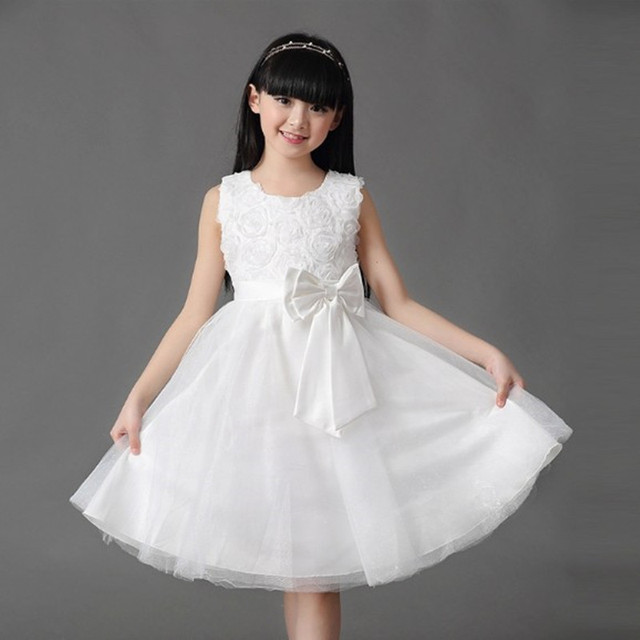 ca3d70e3129 Summer Girl Dress Elegant 3D Rose Dress Sleeveless Girl Princess Dress  Clothing girl party dress 7 colors 5031