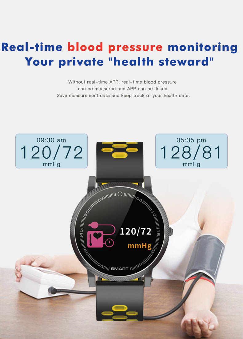 شاشة ملونة سوار الرياضة الذكية جهاز تتبع معدل ضربات القلب لأغراض اللياقة البدنية الذكية معصمه ضغط الدم ووتش لسامسونج غالاكسي S5 S4 S3 S2