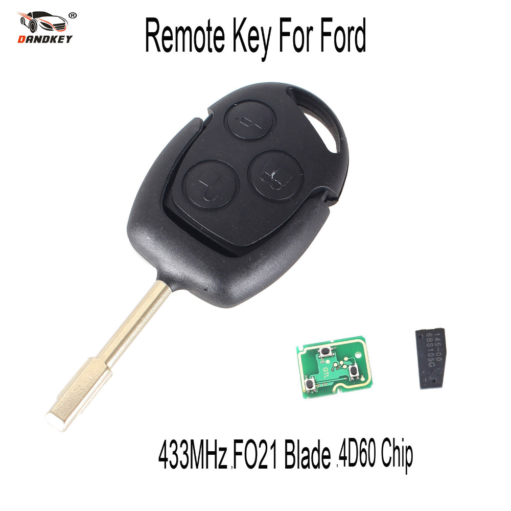 DANDKEY Remote Key 3 Buttons 433MHz with 4D60 Chip for FORD Focus Fiesta Mondeo C MAX Fusion Transit KA FO21 Blade